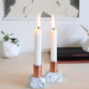 oven-bake clay faux marble modern geometric candlestick