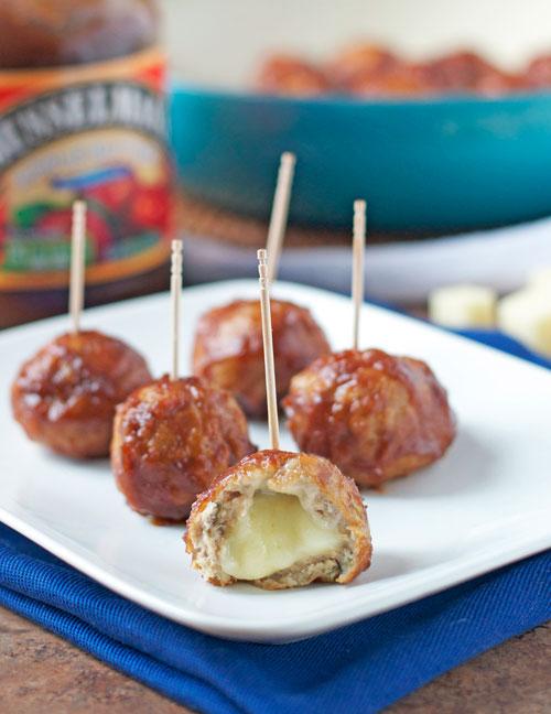 Cheese Stuffed Apple Chicken Meatballs. Healthy baked slow cooker meatball recipe.