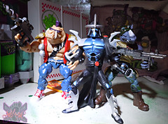 TEENAGE MUTANT NINJA TURTLES - CLASSIC COLLECTION :: ROCKSTEADY & BEBOP { tOkKustom Punk touch-ups } xl // .. with '07 TMNT movie Shredder (( 2013 ))