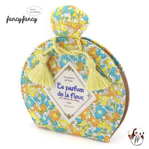 67.繽紛小花香水瓶造型化妝鏡-粉黃