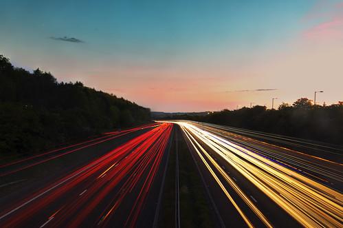 longexposure blue red yellow evening nikon traffic motorway tripod headlights lighttrails bluehour m5 servicestation d610