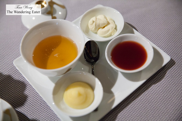 Condiments - Rooftop honey, yuzu curd, raspberry yuzu jam, clotted cream