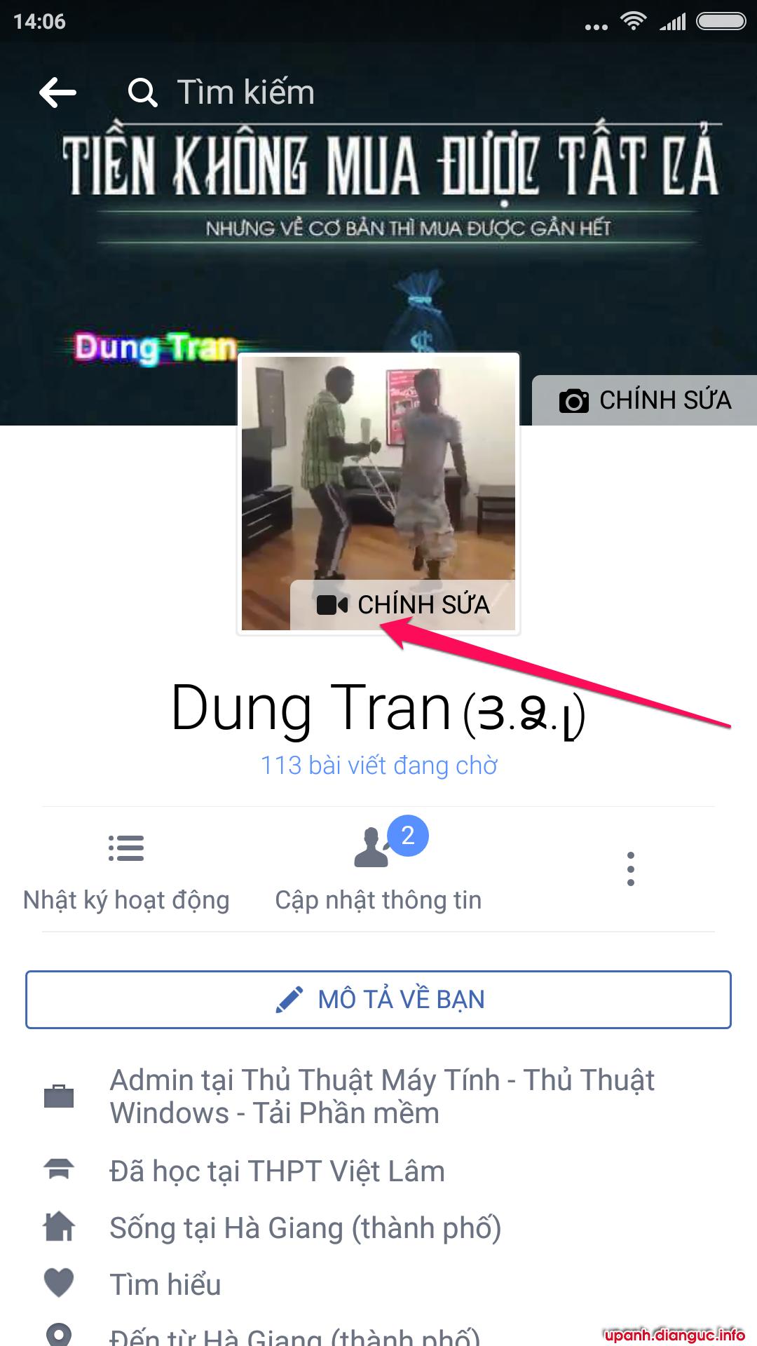 Hướng dẫn đặt video làm ảnh đại diện Facebook trên Android