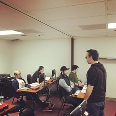 Instructor Adam teaching a group of students about tempo mapping in our Pro Tools classroom! #omega #studio #school #ProTools #thestampisallweneed