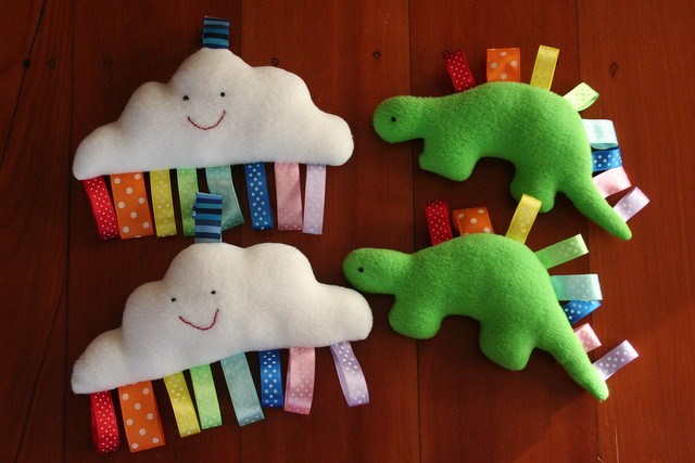 Cloud and Dinosaur taggie toys