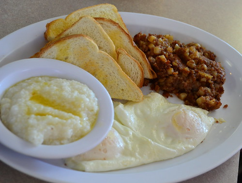 Corned Beef Hash with Eggs Grits and Toast by pjpink