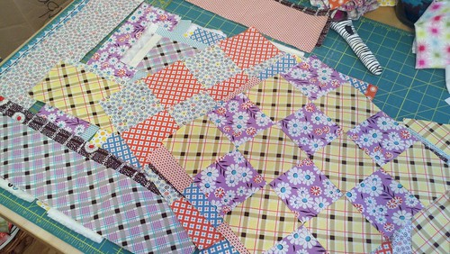 16 patch with DS Quilts Croquet fabrics