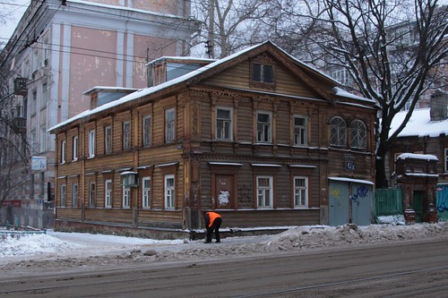 Timber buildings in Nizhny Novgorod's old town area