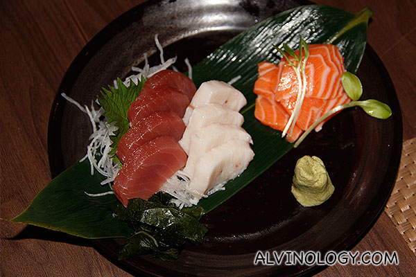 Separate order of salmon, swordfish and tuna sashimi