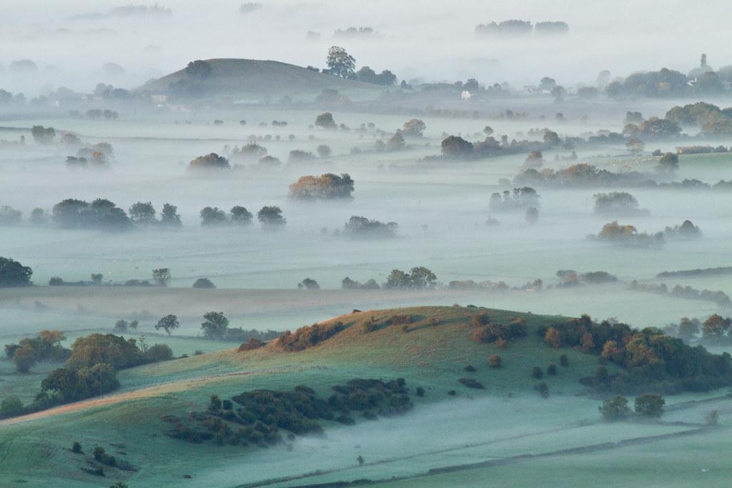 Misty sunrise on Somerset Levels