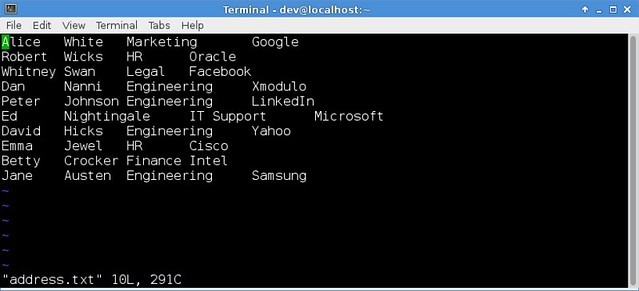 How to create custom business cards or labels in linux xmodulo it has four column data firstlast name division company and each column is delimited by tab character there are as many rows of data as name labels reheart Choice Image