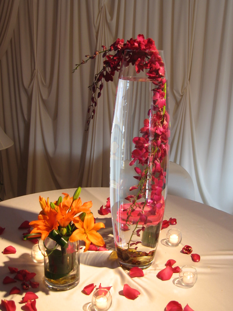 Wedding flowers tall table centerpieces