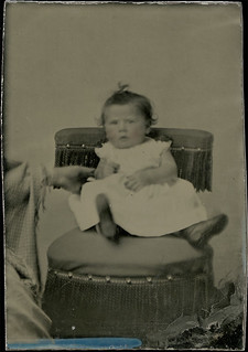Hidden Mother - Tintype of Baby with Steadying Hand