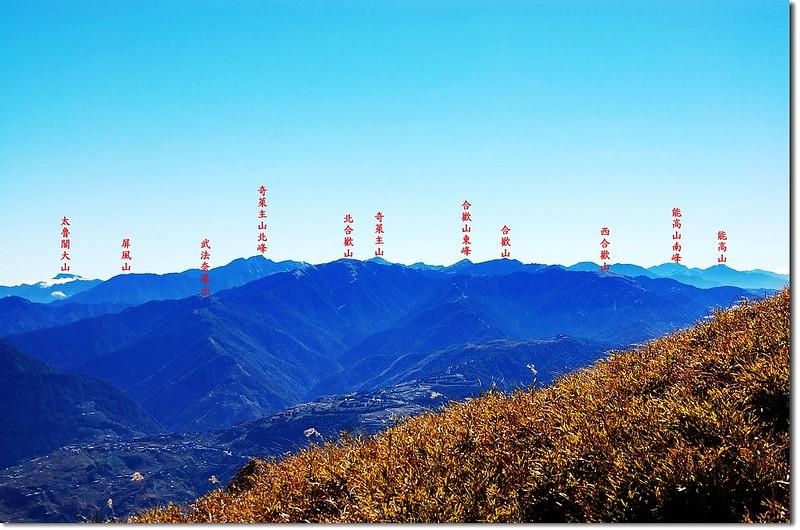 合歡群峰(From 油婆蘭山遠眺東南) 2