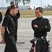 Will Power and Juan Pablo Montoya chat prior to Juan Pablo's first test laps for Team Penske