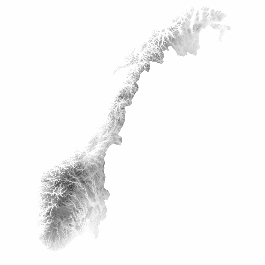Topographic Map Of Norway.Norway Inverted Heightmap Made With Data From The Norwegia Flickr