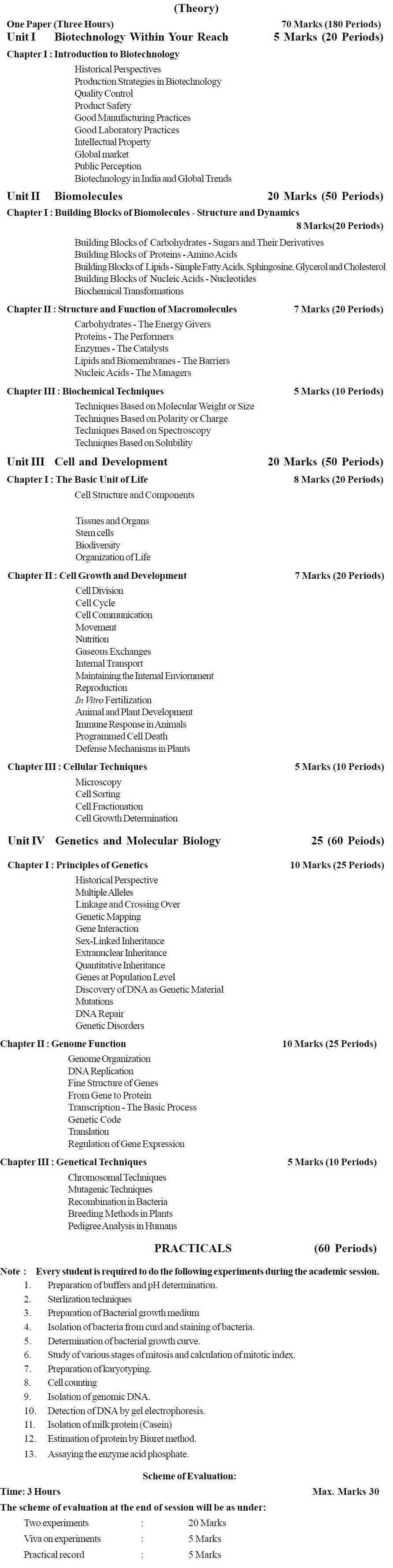 CBSE Class XI Marking Scheme 2014: Biotechnology