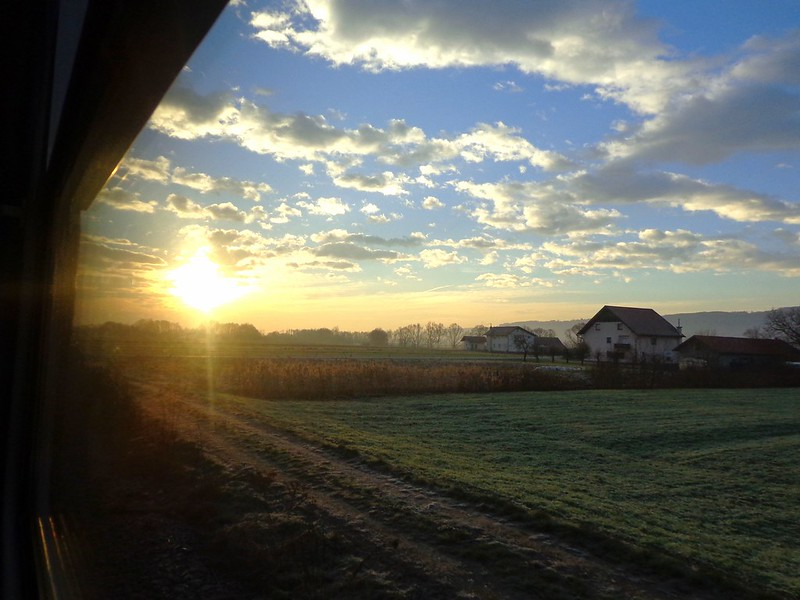 Sunrise on the train to the border