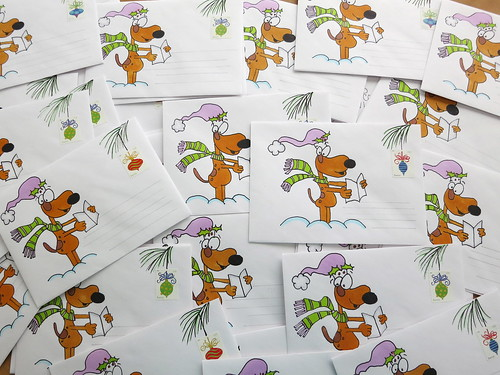 48 decorated Christmas card envelopes....
