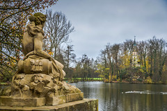 Garden Sculpture with view of Ruin Chapel at Seeschloss Monrepos - Ludwigsburg Germany
