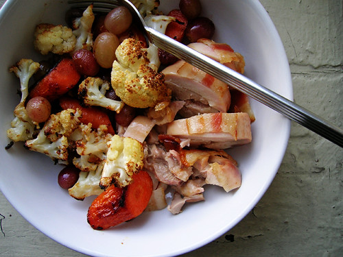 baked chicken with roasted cauliflower, carrots, and grapes