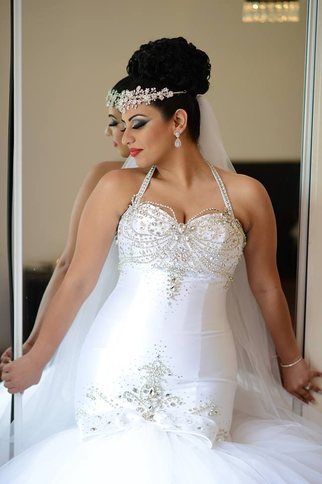Vanessa- Dramatic crystal faceframer- Bridal Styles Boutique