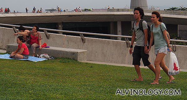 Teens alongside family crowds at Marina Barrage