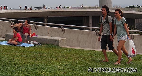 Teens alongside family crowds at Marina Barrage