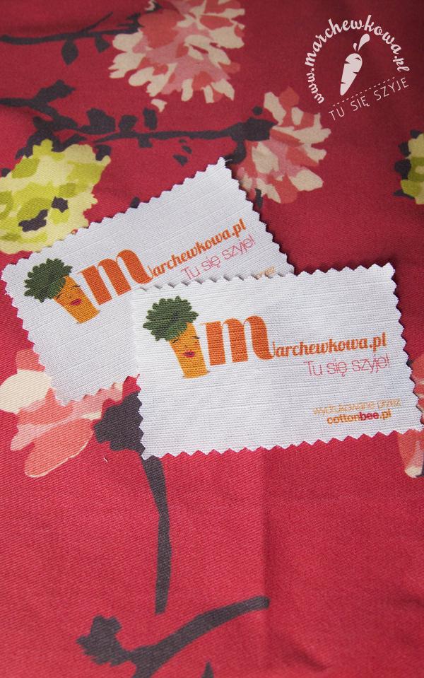 CottonBee, business card, wizytówka, druk, tkanina na zamówienie, marchewkowa,