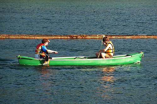 Canoeing on Cowichan Lake in Lake Cowichan, Cowichan Valley, Vancouver Island, British Columbia