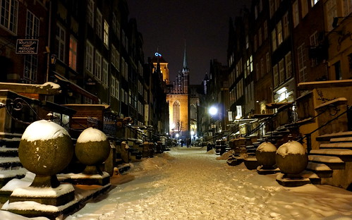 Gdańsk covered with snow