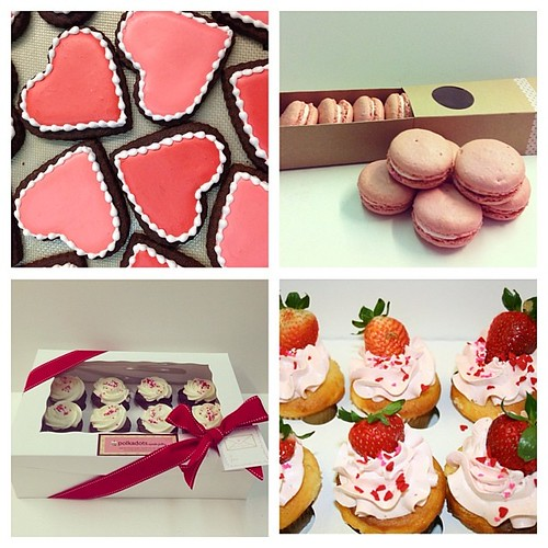 Our valentines menu: assorted sugar cookies, strawberry macaron gift box, and valentines cupcakes (strawberry shortcake, strawberry and cream, triple chocolate, red velvet, vanilla, and blackbottom) available for pick up/ scheduled delivery 02.12 - 02.14