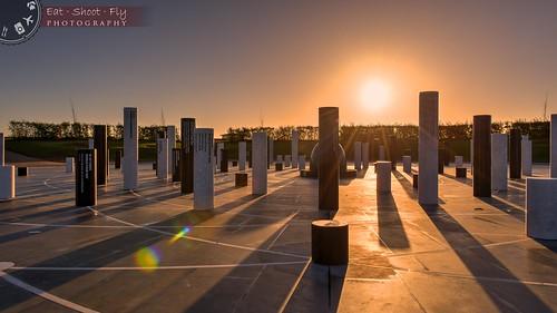 sculpture rose sunrise miltonkeynes modernart lensflare pillars hdr campbellpark