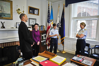Cadet Jessica Lukasik talks to Rear Adm. Sandra Stosz, the superintendent of the Coast Guard Academy, Kurt Colella, dean of academics, and Alina Zapalska, professor of economics, about how she earned the 2014 Fulbright Scholarship at the Academy, April 29, 2014.   The Fulbright Program is the flagship international educational exchange program sponsored by the U.S. government and is designed to increase mutual understanding between the people of the United States and the people of other countries.   U.S. Coast Guard photos by Petty Officer 3rd Class Richard Brahm