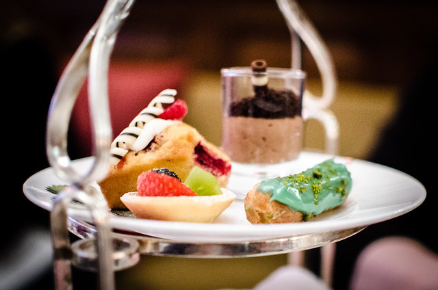 The desert plate for afternoon tea at Brown's Hotel.