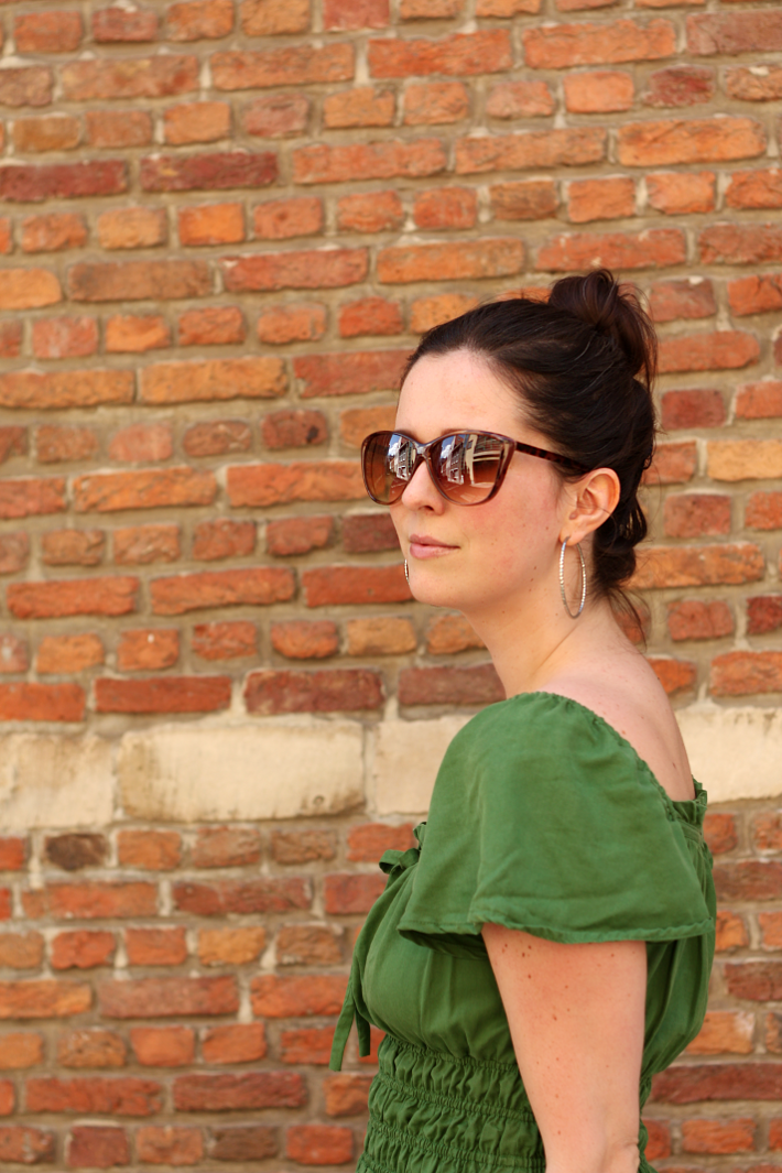 summer outfit zara green smock grecian dress