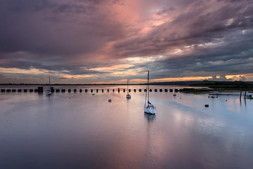 uk sunset seascape june clouds reflections boats nikon haylingisland hampshire lee nd yachts posts filters grad southcoast breezy d800 2014 langstoneharbour cloudsatdusk sunsetsnapper