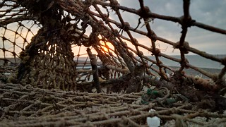 Sunset through the fishing pots at Cley