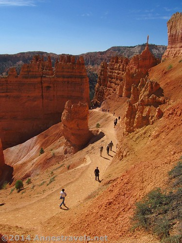 Walking up the Navajo Trail through the spires in Bryce Canyon National Park, Utah