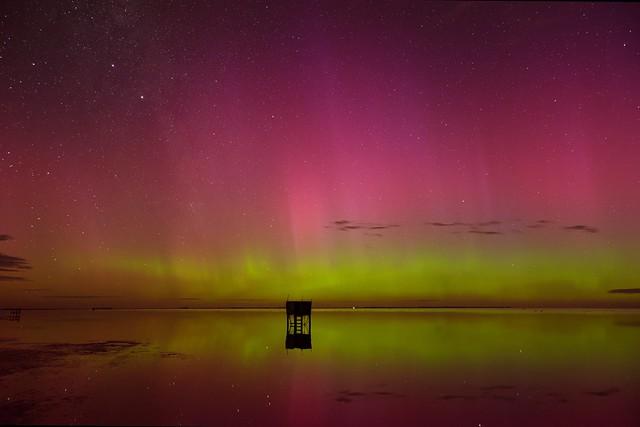 Aurora Australis and Lake Ellesmere (DxO edit)