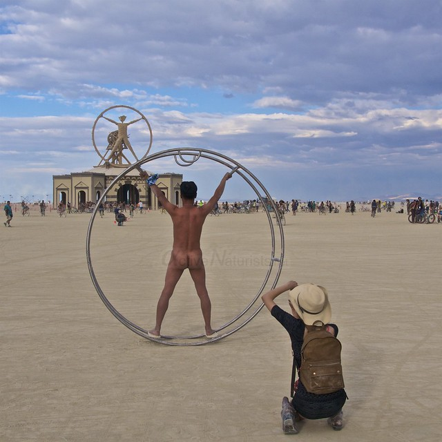 naturist gymnastics wheel camp Gymnasium 0002 Burning Man, Black Rock City, NV, USA