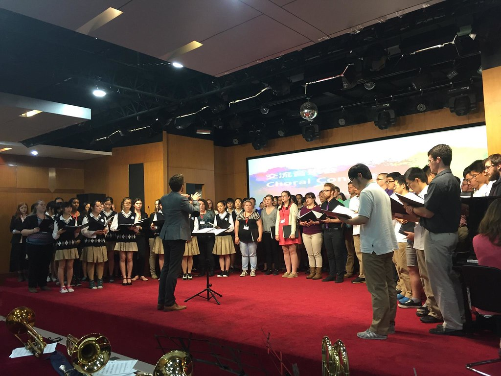 Lycoming College Choir at an exchange with Fudan High School choir in Shanghai