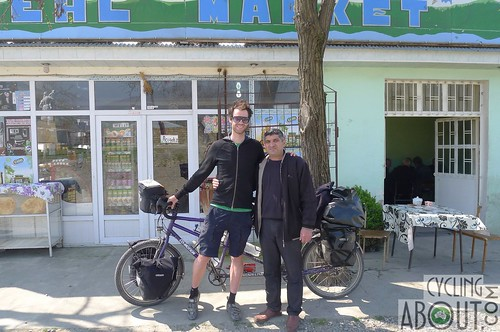 Meeting local Azeri people as we bicycle tour through Azerbaijan
