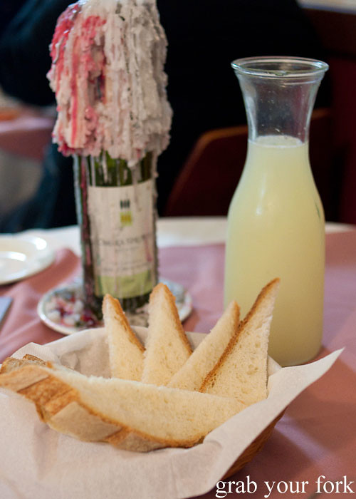 free bread and lemonade at nonna maria's place italian restaurant parramatta sydney