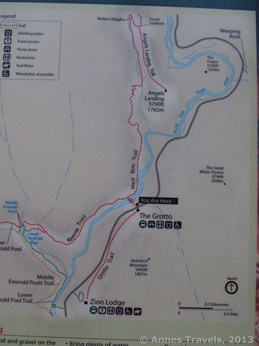 Map of the Angel's Landing Trail, Zion National Park, Utah