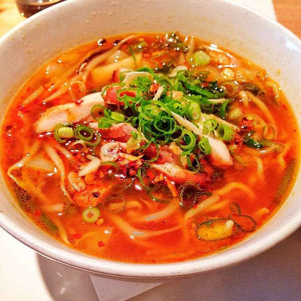 """ Ramen: Chicken-Soy Sauce-Chili Broth, Shrimp Paste, Chicken Chashu ..."