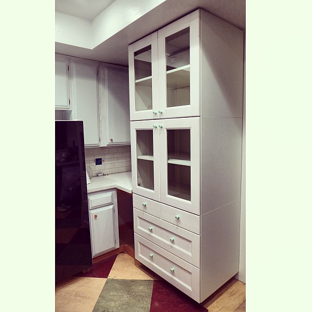 My New China Cabinet Three Ikea Akurum 36 Base Cabinets Stacked With Ramsj White Fronts