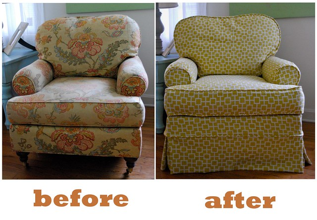 Graphic Mustard Armchair Slipcover