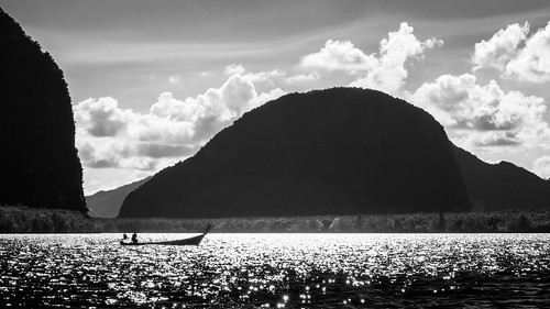 light sunset shadow mountain reflection nature water night clouds contrast river dark landscape bay boat blackwhite thaïlande line curve shape lowkey th longtail phangnga mueangphangnga flickr12days