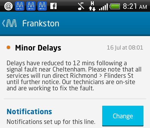 MetroTrains Android app